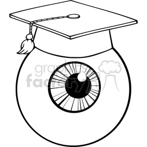12821 RF Clipart Illustration Eye Ball Cartoon Character With Graduate Cap