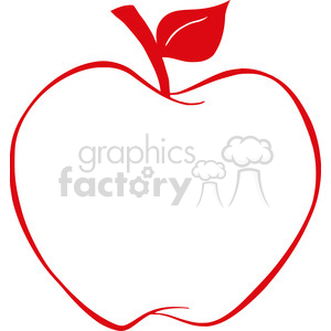 12923 RF Clipart Illustration Apple With Red Outline clipart. Royalty-free image # 385176