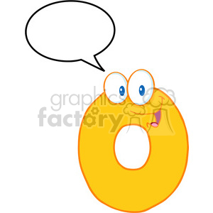 4962-Clipart-Illustration-of-Number-Zero-Cartoon-Mascot-Character-With-Speech-Bubble clipart. Royalty-free image # 385186
