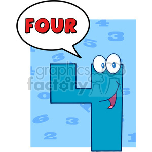 cartoon funny education school learning numbers character happy 4 four blue