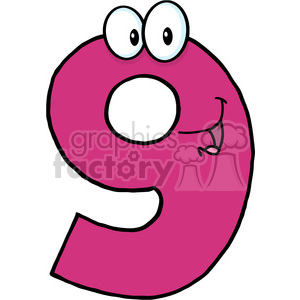 cartoon funny education school learning character happy 9 nine pink