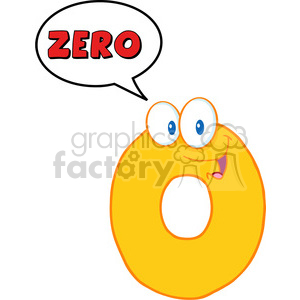 4963-Clipart-Illustration-of-Number-Zero-Cartoon-Mascot-Character-With-Speech-Bubble clipart. Commercial use image # 385266