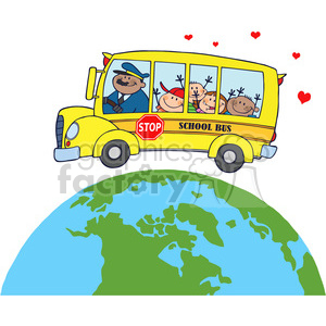 5049-clipart-illustration-of-happy-children-on-school-bus-around-earth