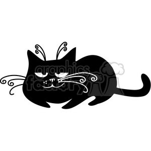 vector clip art illustration of black cat 006 clipart. Royalty-free image # 385346