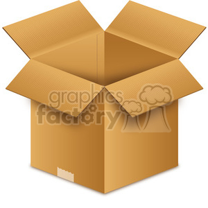 opened brown box clipart. Commercial use image # 385506