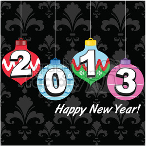 2013 happy new year decorations clipart. Commercial use image # 385989