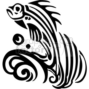 fish black+white tattoo design illustration wave waves jumping water