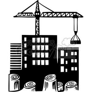 eco environment illustration logo symbols elements earth black+white factory crane construction