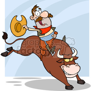 5140-Cowboy-Riding-Bull-In-Rodeo-Royalty-Free-RF-Clipart-Image clipart. Commercial use image # 386250