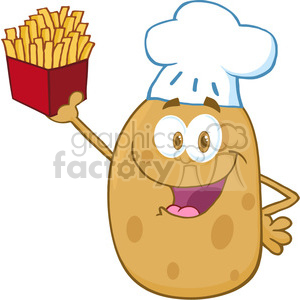 5181-Potato-Chef-Holding-Up-A-French-Fries-Royalty-Free-RF-Clipart-Image