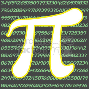 white pi symbol outlined in yellow clipart. Commercial use image # 386446