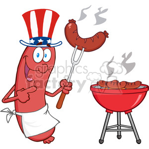 Happy Sausage With American Patriotic Hat Cook At Barbecue clipart. Commercial use image # 386466
