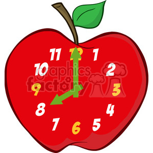 5394-Red-Apple-Clock clipart. Commercial use image # 386486