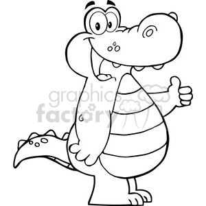 Smiling-Aligator-Or-Crocodile-Showing-Thumbs-Up clipart. Commercial use image # 386506