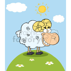 Happy Ram Cartoon Mascot Character On A Hill clipart. Royalty-free image # 386516