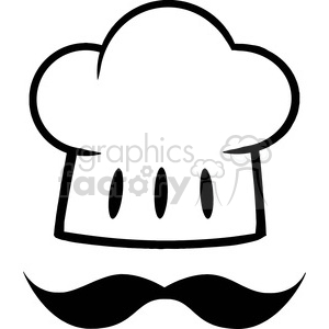 Chef Hat With A Mustache Logo clipart. Commercial use image # 386526