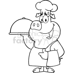 Happy-Pig-Chef-Holding-A-Platter clipart. Commercial use image # 386536