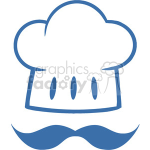 Royalty-Free-RF-Clipart-Blue-Chef-Hat-With-A-Mustache-Logo clipart. Royalty-free image # 386546