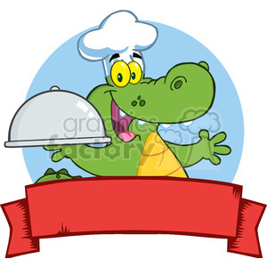 Happy Crocodile Chef Holding A Platter Over A Blank Banner clipart. Commercial use image # 386556