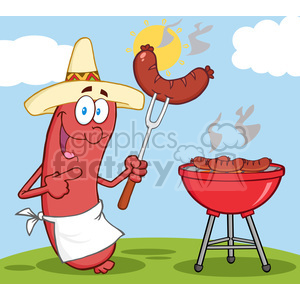 Happy Sausage With Mexican Hat Cook At Barbecue clipart. Commercial use image # 386586