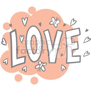 word love with hearts clipart. Royalty-free image # 386655