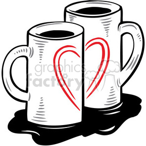 love Valentines hearts cartoon vector coffee cups two