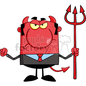 Royalty Free Angry Devil With A Trident clipart. Royalty-free image # 386833