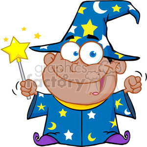 Clipart of Happy African American Wizard Boy Waving With Magic Wand clipart. Royalty-free image # 386853