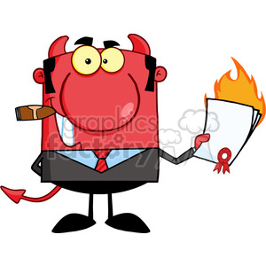 Royalty Free Devil Boss Holding A Flaming Bad Contract In His Hand clipart. Royalty-free image # 386863