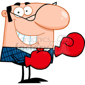 Royalty Free Smiling Business Manager With Boxing Gloves clipart. Royalty-free image # 386903