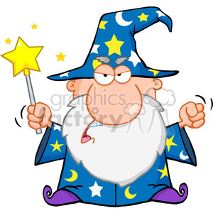 Royalty Free Angry Wizard Waving With Magic Wand clipart. Royalty-free image # 386923