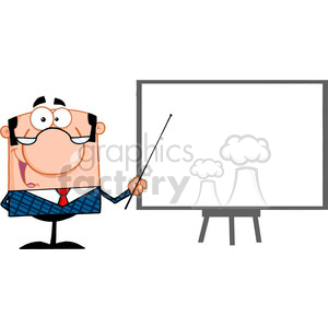 Clipart of Happy Business Manager With Pointer Presenting On A Board clipart. Royalty-free image # 386933