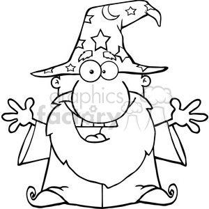 Clipart of Friendly Wizard With Open Arms clipart. Royalty-free image # 386953