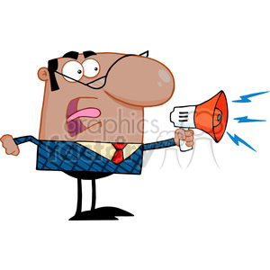 Clipart of Excited African American Business Manager Speaking Through A Megaphone clipart. Commercial use image # 386983