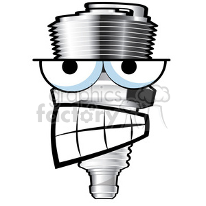 mean spark plug cartoon character clipart. Royalty-free image # 387154