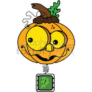 Pumpkin BobbleHead in color clipart. Commercial use image # 387294
