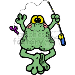 Frog Fishing Pole in color clipart. Royalty-free image # 387513