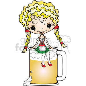 Oktoberfest Girl 2 on Beer Mug clipart. Commercial use image # 387543
