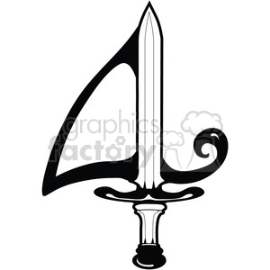 cartoon cute number numbers sword 4 four