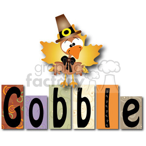 Gobble Word Blocks w Turkey clipart. Royalty-free image # 387761