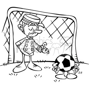 black and white cartoon soccer goalie clipart. Royalty-free image # 387771