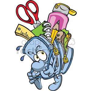 cartoon backpack full of school supplies clipart. Royalty-free image # 387810