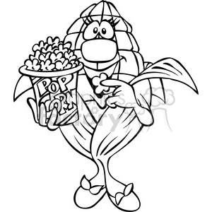 black and white cartoon popcorn character clipart. Commercial use image # 387830