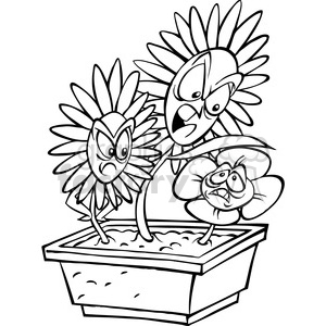 black and white cartoon flower bullies clipart. Royalty-free image # 387860