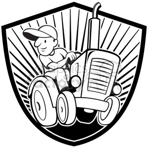 black and white farmer driving tractor front shield