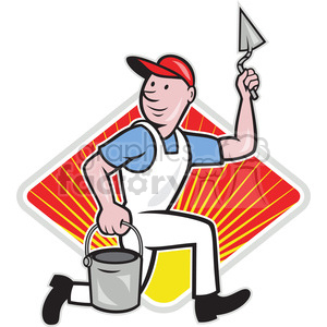plasterer mason worker running pail DIA clipart. Commercial use image # 387904