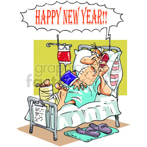 cartoon illustration funny comic comical New+Year happy+new+year 2014 hospital accident