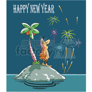 cartoon happy new year from island clipart. Commercial use image # 387946