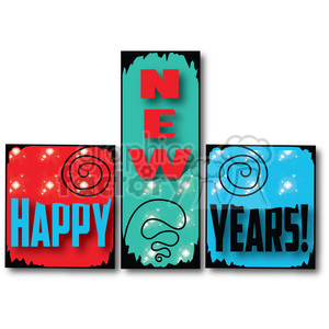 Happy New Years Blocks 01 clipart clipart. Royalty-free image # 388005