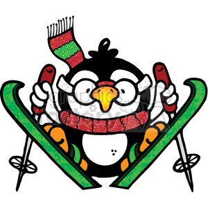 Penguin Skiier jumping clipart. Commercial use image # 388036